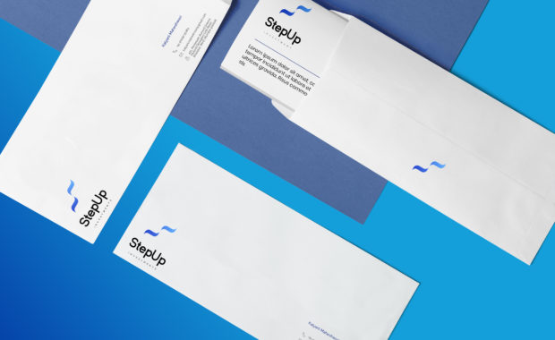Envelope mock-up for Step Up Investments