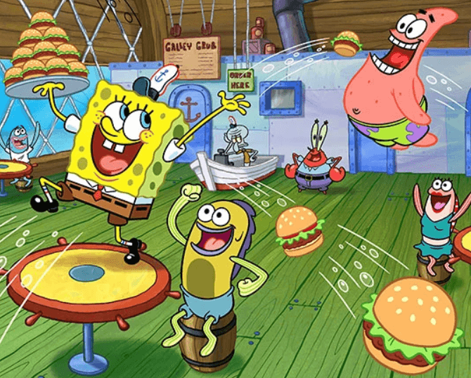 Loyal and happy employee serving branded burgers at a restaurant