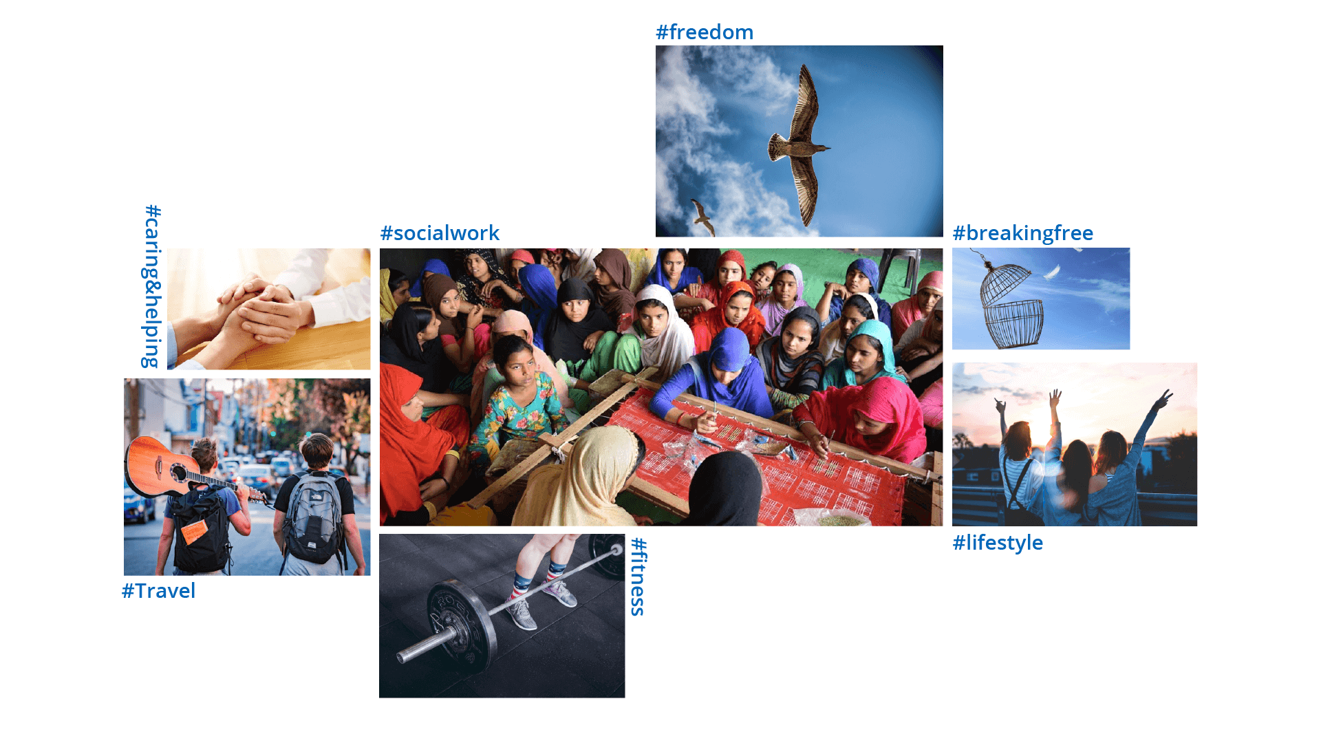 A moodboard for Hum Azad Hai, which also has the brand's keywords
