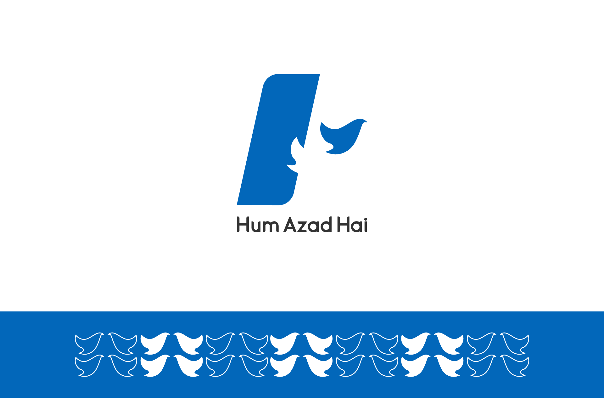 The logo of Hum Azad Hai with a pattern created with the bird in its logo