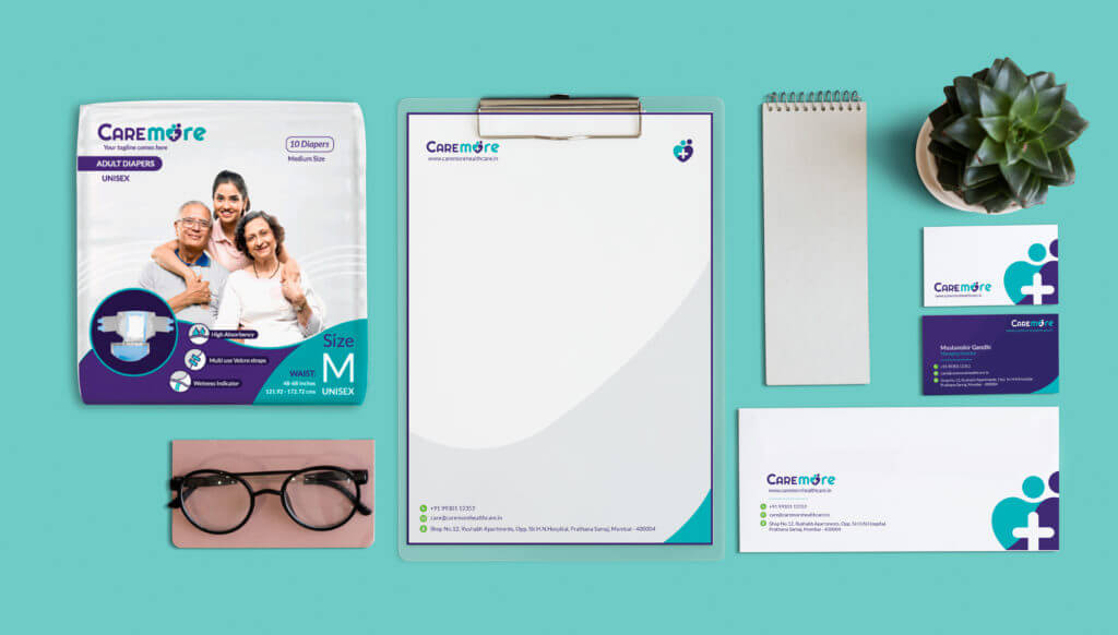 Branded collateral which includes products, cards, letterheads, envelopes, writing pads, etc. following branding design language