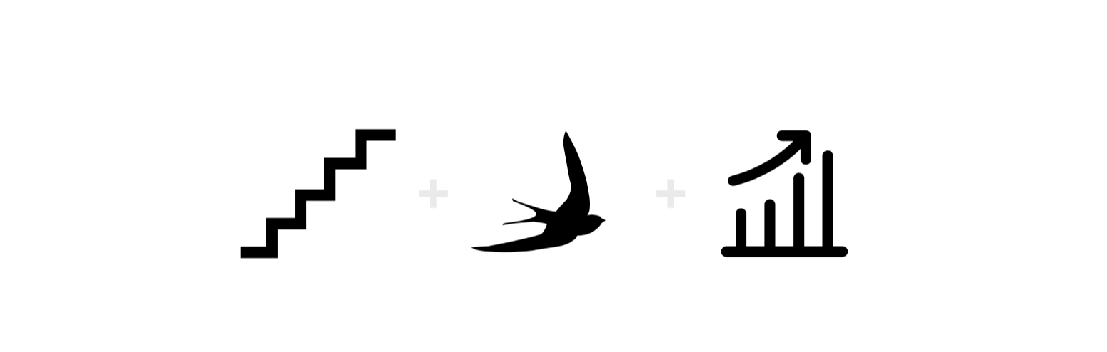 Stepping up, freedom and investments - the 3 key elements of StepUp Investment's Logo