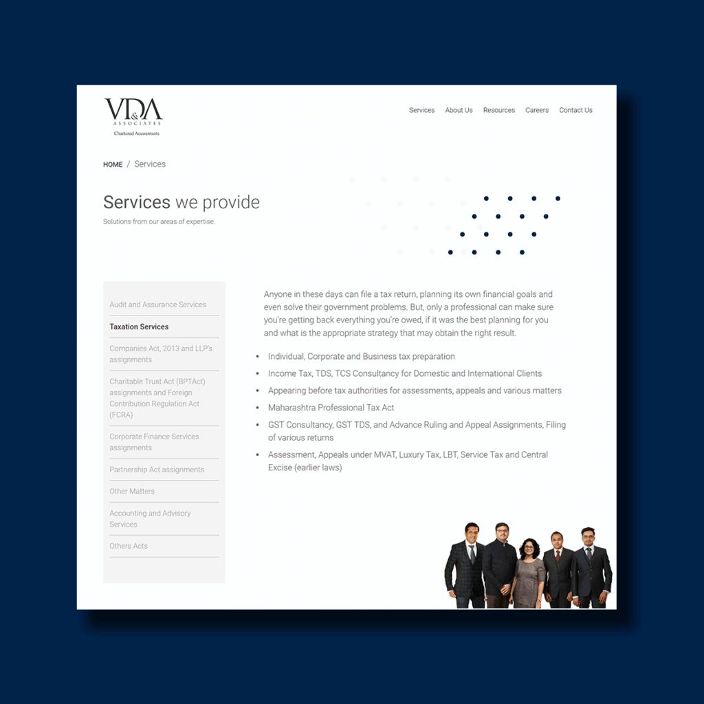Interface of VDA & Associates' Service Page