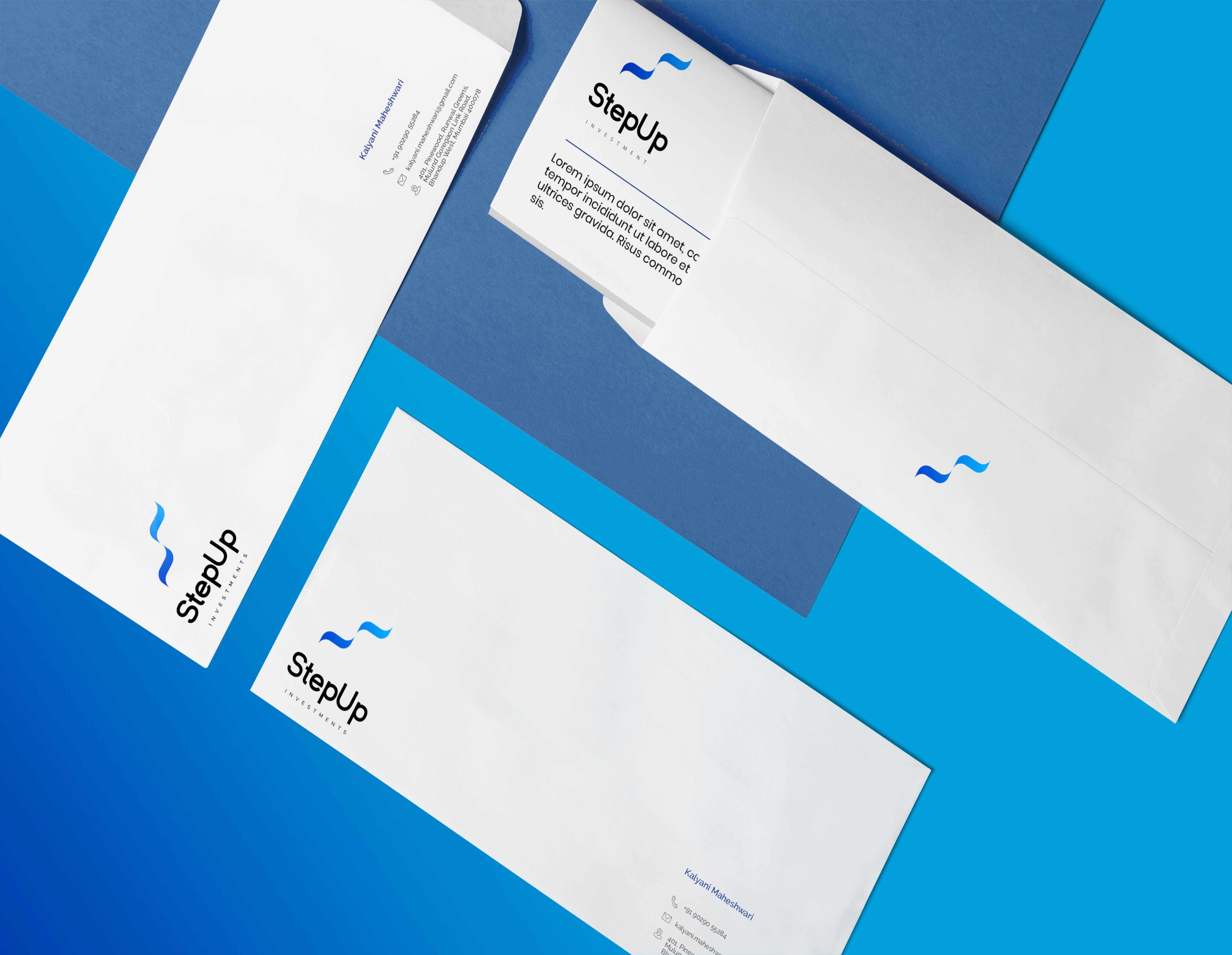 Envelope mock-up for Step Up Investments